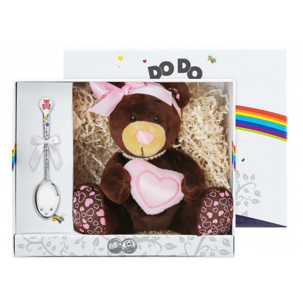 """Набор детский """"Медвежонок"""" с позолотой и эмалью, 2 предмета (игрушка, ложка), арт.: 1376НБ05807_М"""