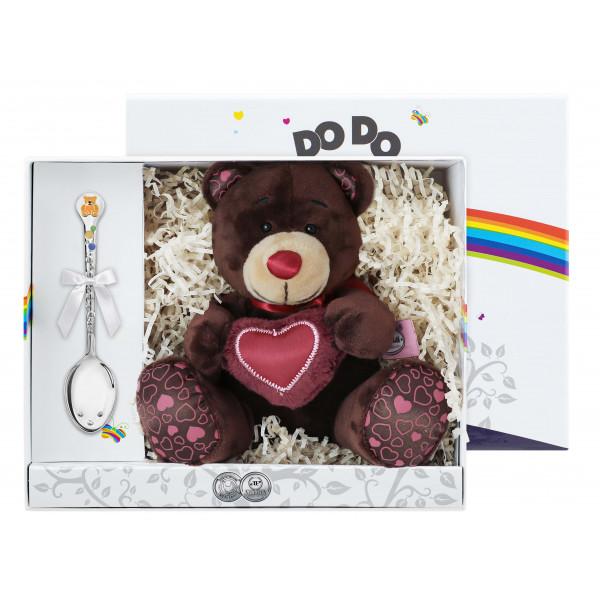 """Набор детский """"Медвежонок"""" с позолотой и эмалью, 2 предмета (игрушка, ложка), арт.: 1376НБ05807_О"""