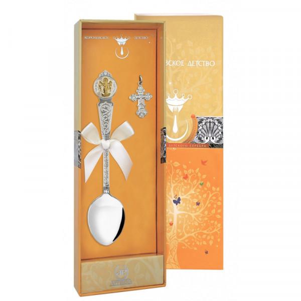 """Набор крестильный """"Ангел-Хранитель"""" с позолотой (ложка, крестик), арт.: 1027НБ00802"""