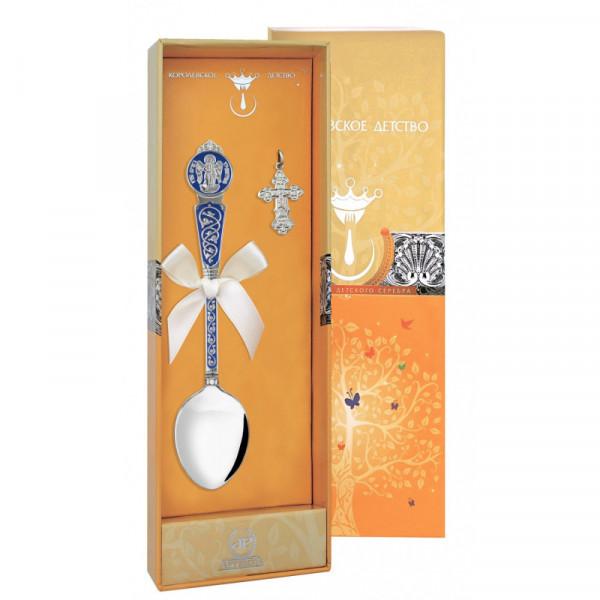 """Набор крестильный """"Ангел-Хранитель"""" с синей эмалью (ложка, крестик), арт.: 1027НБ00807_С"""