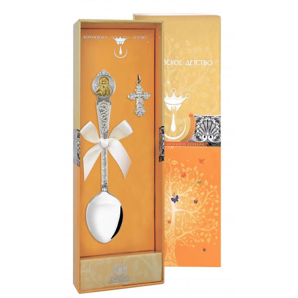"""Набор крестильный """"Вседержитель"""" с позолотой (ложка, крестик), арт.: 1062НБ00802"""