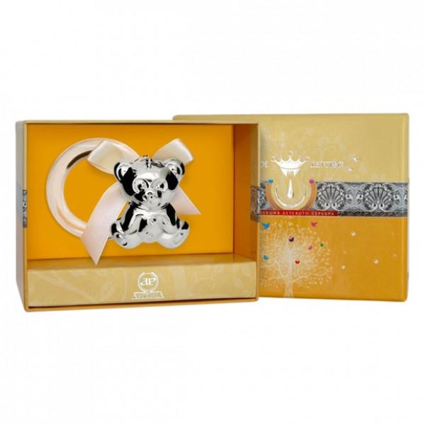 "Погремушка серебряная ""Медведь"" на кольце, арт.: 1GI0121С"