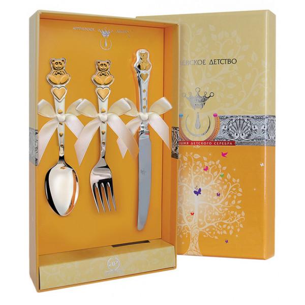 """Набор детский """"Мишка с сердечками"""" с позолотой (вилка, ложка, нож), арт.: 420НБ05802"""