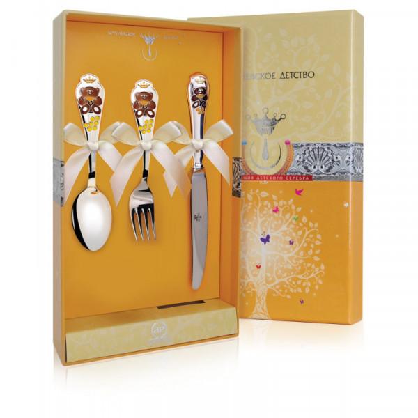 """Набор детский """"Мишка"""" с позолотой и эмалью (ложка, вилка, нож), арт.: 559НБ05808"""
