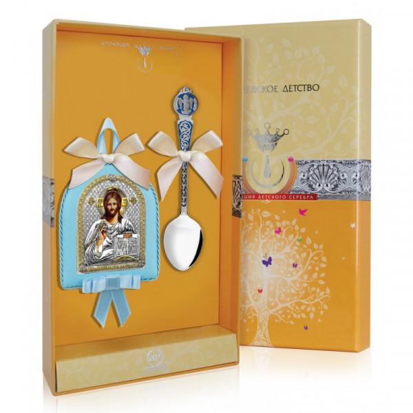 """Набор подарочный """"Вседержитель"""" голубой (ложка, икона), арт.: РИ108НБ00802"""