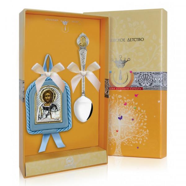 """Набор подарочный """"Вседержитель"""" голубой (ложка, икона), арт.: РИ180НБ00802"""