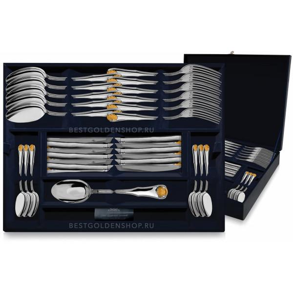 """Набор столовых приборов """"Визит"""" с позолотой, 48 предметов (вилки, ножи, ложки столовые, чайные), арт.: 1321НБ01802"""