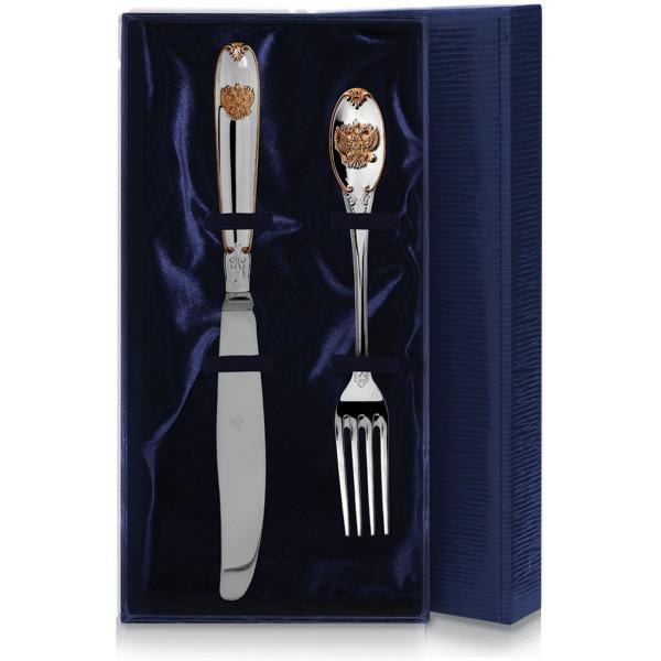 """Набор столовых приборов """"Единство"""" с позолотой, 2 предмета (вилка, нож), арт.: 156НБ01802"""
