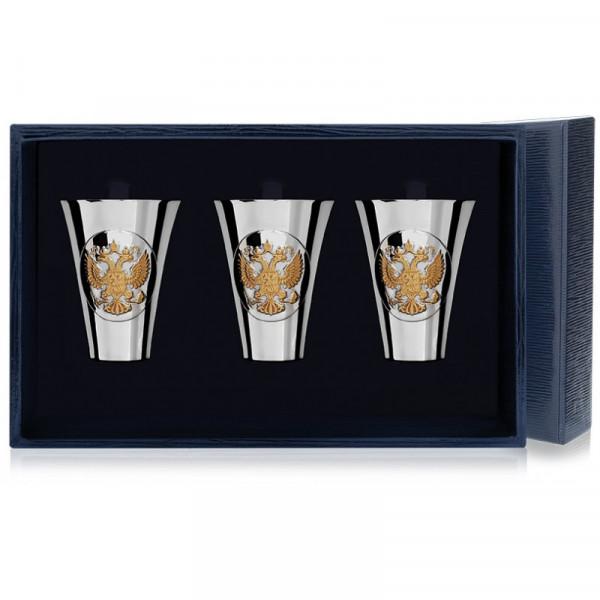 """Набор стопок """"Герб"""" полированных с позолотой, 3 предмета, арт.: 536НБ00802"""