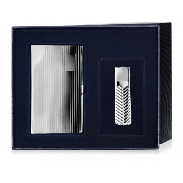 Визитница серебряная и флэшка 16 Гб, арт.: ИТ81НБ00801