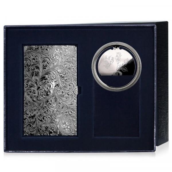 Визитница серебряная и закладка для книг, арт.: РИ64НБ00801