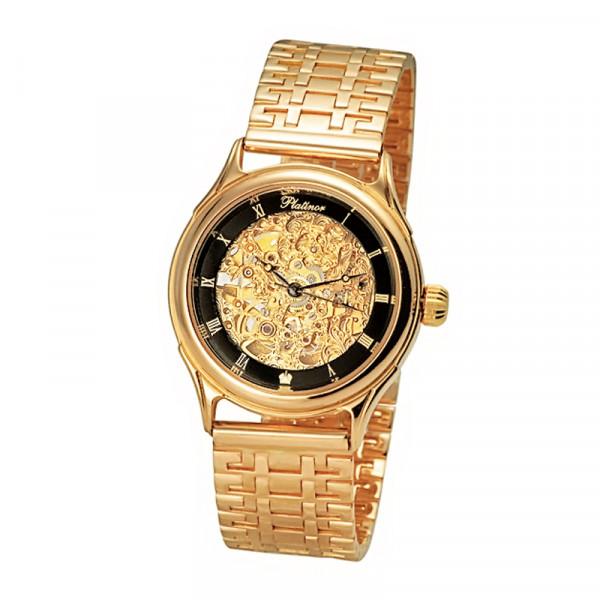 Мужские золотые часы «Скелетон» Арт.: 41950Д.556 на браслете Арт.: 504