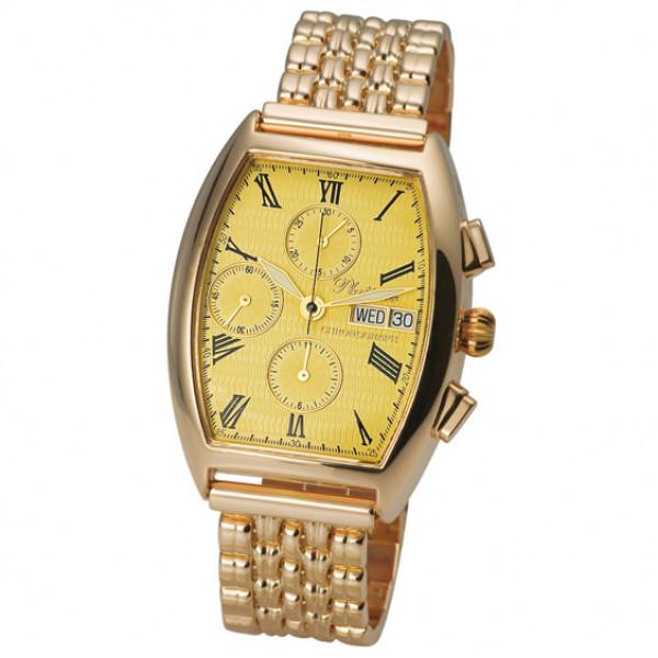 Мужские золотые часы «Маршал» Арт.: 58150С.415 на браслете Арт.: 42023