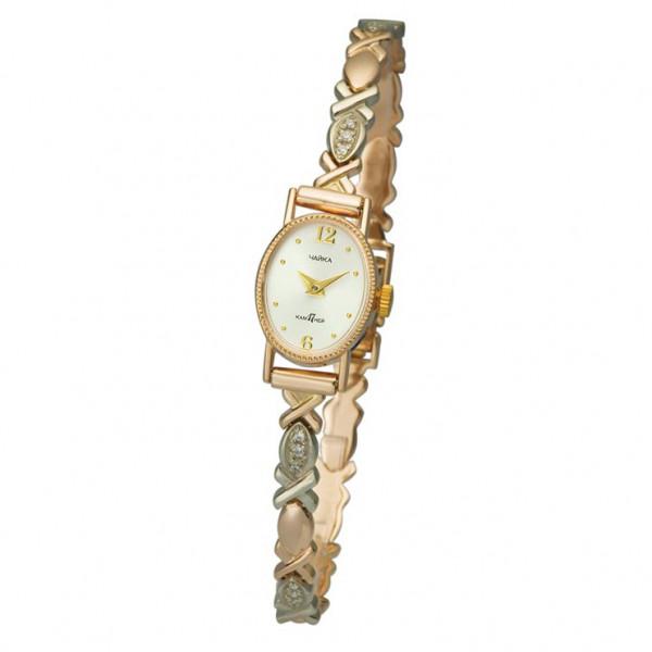 Женские золотые часы «Нежность» Арт.: 44350-2.206 на браслете Арт.: 316096