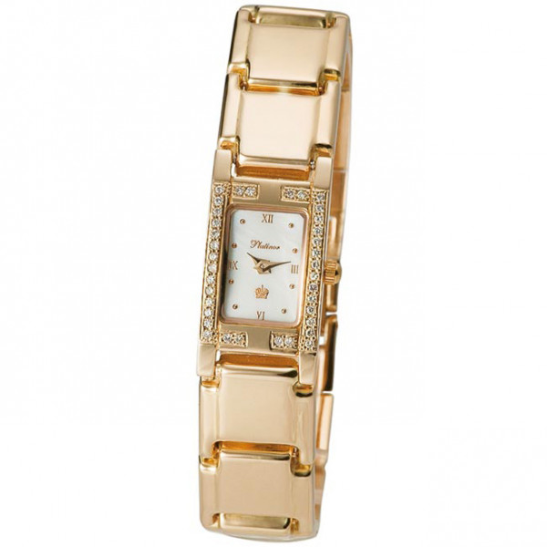 Женские золотые часы «Мадлен» Арт.: 90551-2.316 на браслете Арт.: 52020