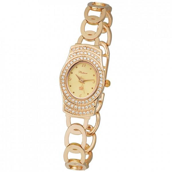 Женские золотые часы «Веста» Арт.: 96156.406 на браслете Арт.: 52213