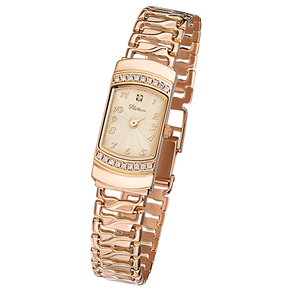 Женские золотые часы «Любава» Арт.: 98356.411 на браслете  арт. 53013