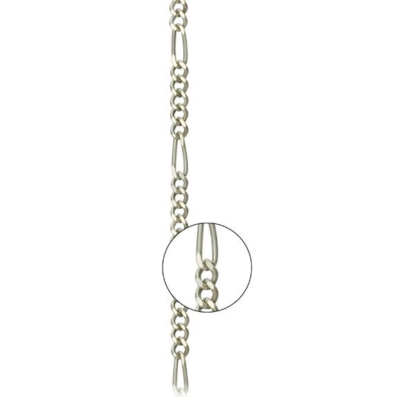 Серебряная цепь «Фигаро 1+5», арт.: 801100